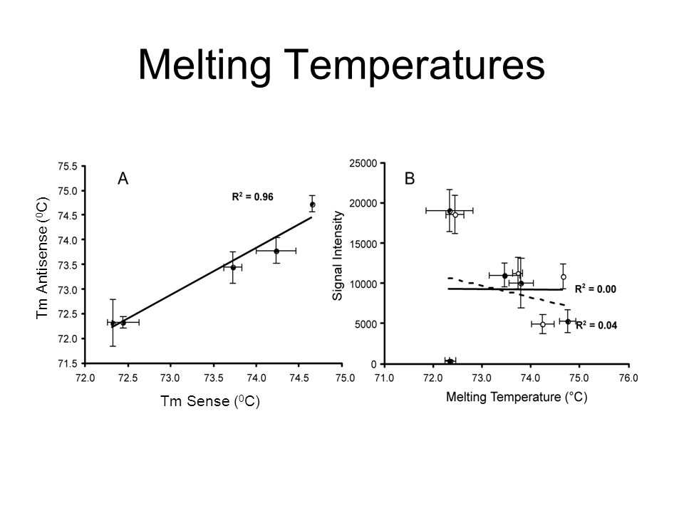 Melting Temperatures Tm Sense ( 0 C) Tm Antisense ( 0 C)