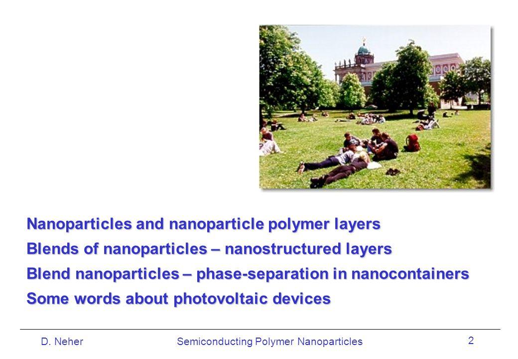 Semiconducting Polymer NanoparticlesD. Neher 2 Nanoparticles and nanoparticle polymer layers Blends of nanoparticles – nanostructured layers Blend nan