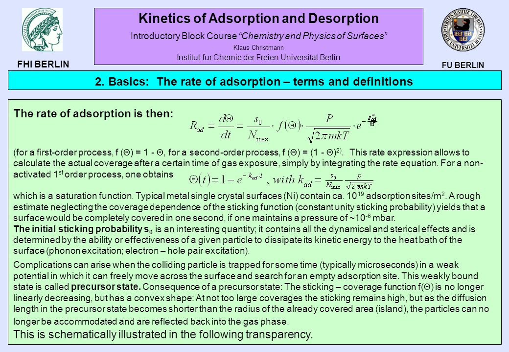 FU BERLIN FHI BERLIN The rate of adsorption is then: (for a first-order process, f ( ) = 1 -, for a second-order process, f ( ) = (1 - ) 2). This rate