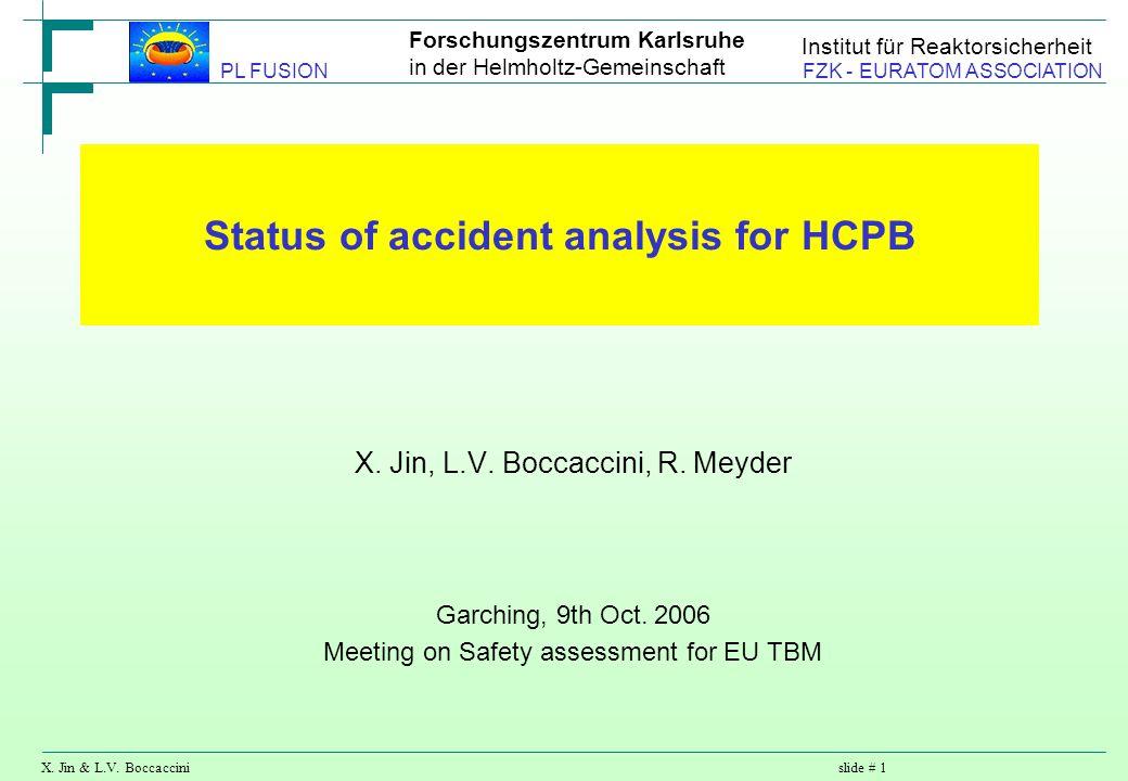 Forschungszentrum Karlsruhe in der Helmholtz-Gemeinschaft X. Jin & L.V. Boccaccinislide # 1 PL FUSION FZK - EURATOM ASSOCIATION Institut für Reaktorsi