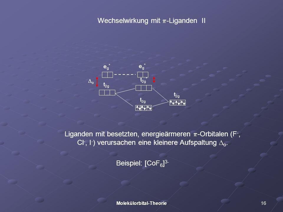 16Molekülorbital-Theorie Wechselwirkung mit -Liganden II Liganden mit besetzten, energieärmeren -Orbitalen (F -, Cl -, I - ) verursachen eine kleinere