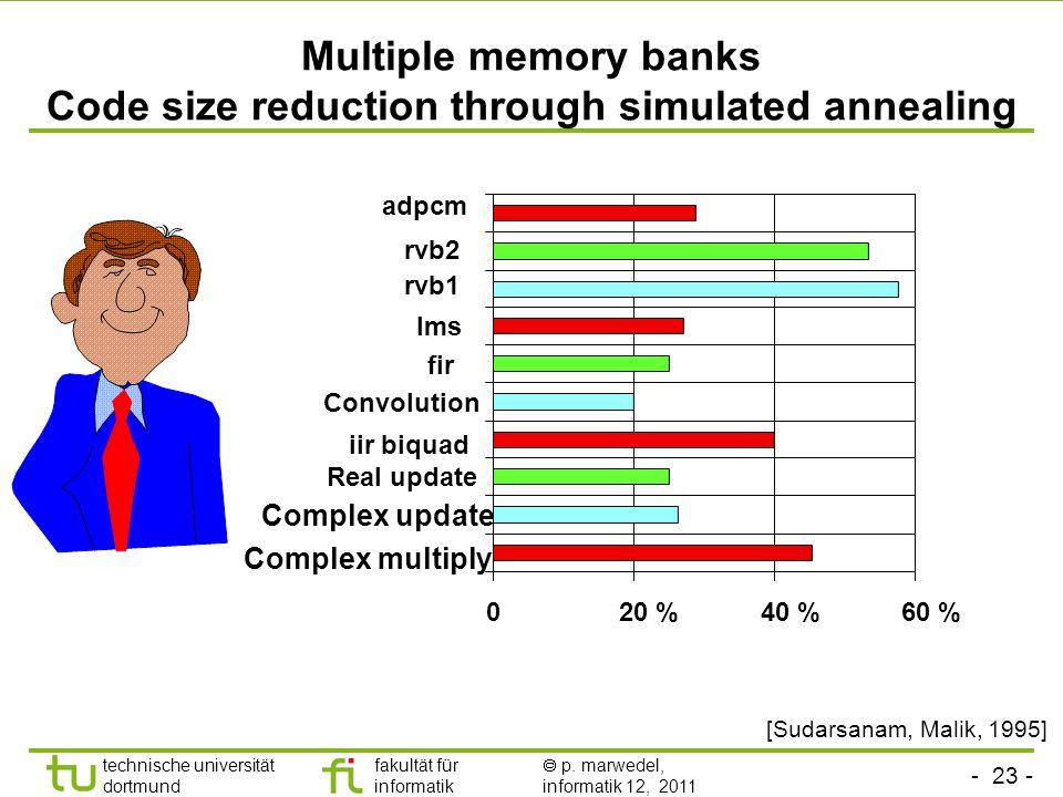 - 22 - technische universität dortmund fakultät für informatik p. marwedel, informatik 12, 2011 Multiple memory banks - Constraint graph generation -