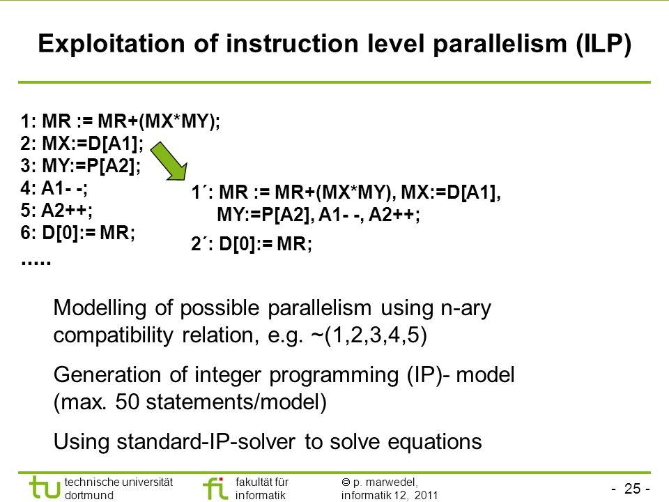 - 24 - technische universität dortmund fakultät für informatik p. marwedel, informatik 12, 2011 Exploitation of instruction level parallelism (ILP) MR