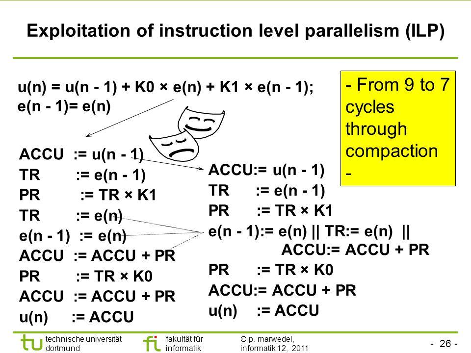 - 25 - technische universität dortmund fakultät für informatik p. marwedel, informatik 12, 2011 1: MR := MR+(MX*MY); 2: MX:=D[A1]; 3: MY:=P[A2]; 4: A1