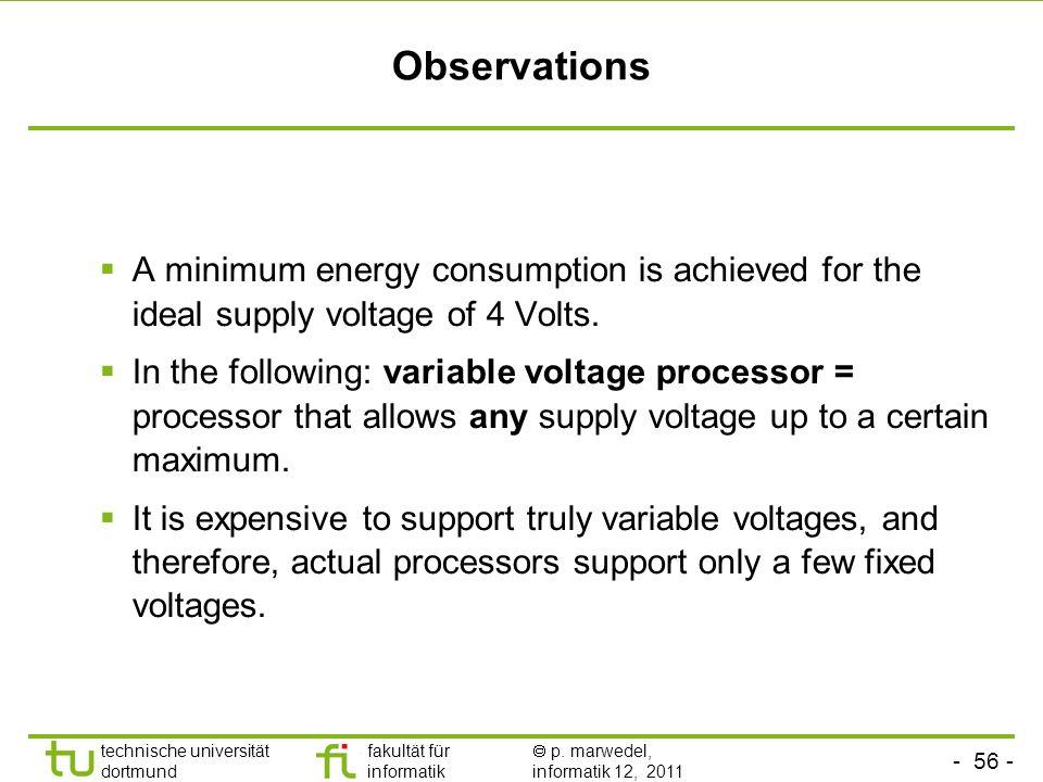 - 55 - technische universität dortmund fakultät für informatik p. marwedel, informatik 12, 2011 Case c): Optimal voltage E c = 10 9 x 25 x 10 -9 [J] =