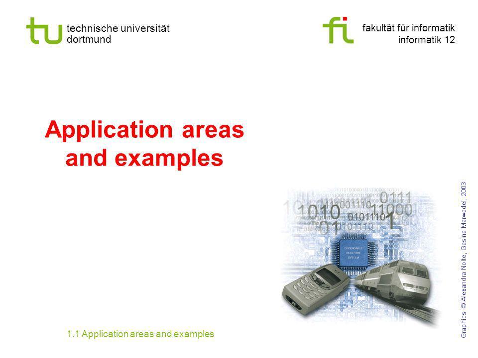 fakultät für informatik informatik 12 technische universität dortmund Application areas and examples Graphics: © Alexandra Nolte, Gesine Marwedel, 200