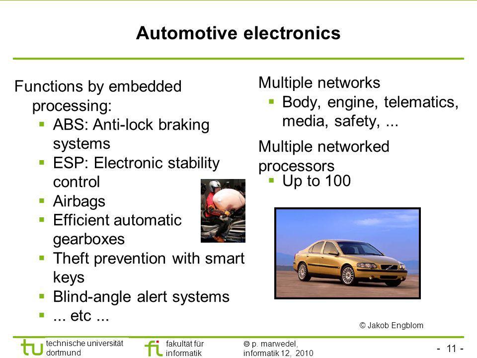- 11 - technische universität dortmund fakultät für informatik p. marwedel, informatik 12, 2010 Automotive electronics Multiple networks Body, engine,