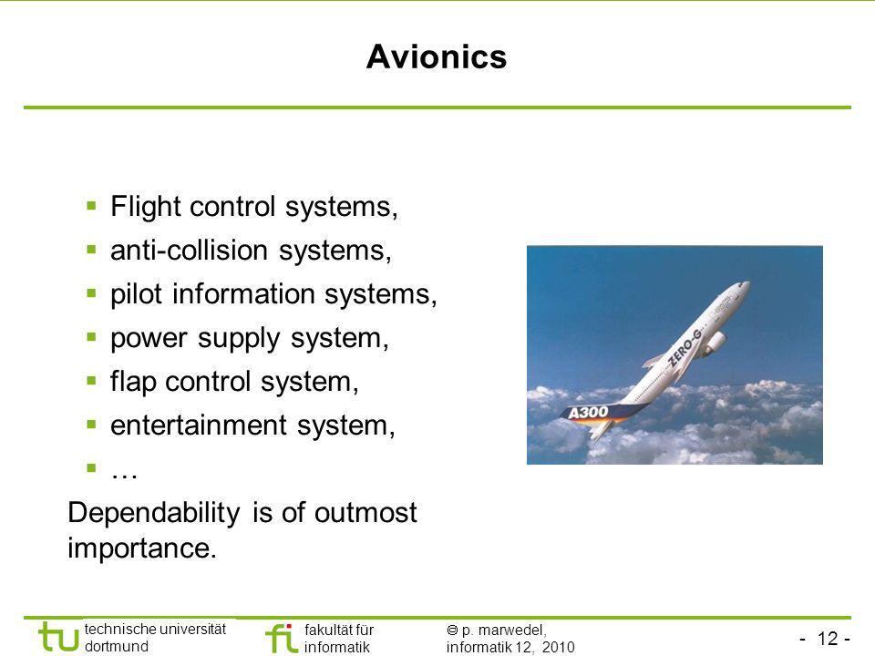 - 12 - technische universität dortmund fakultät für informatik p. marwedel, informatik 12, 2010 Avionics Flight control systems, anti-collision system