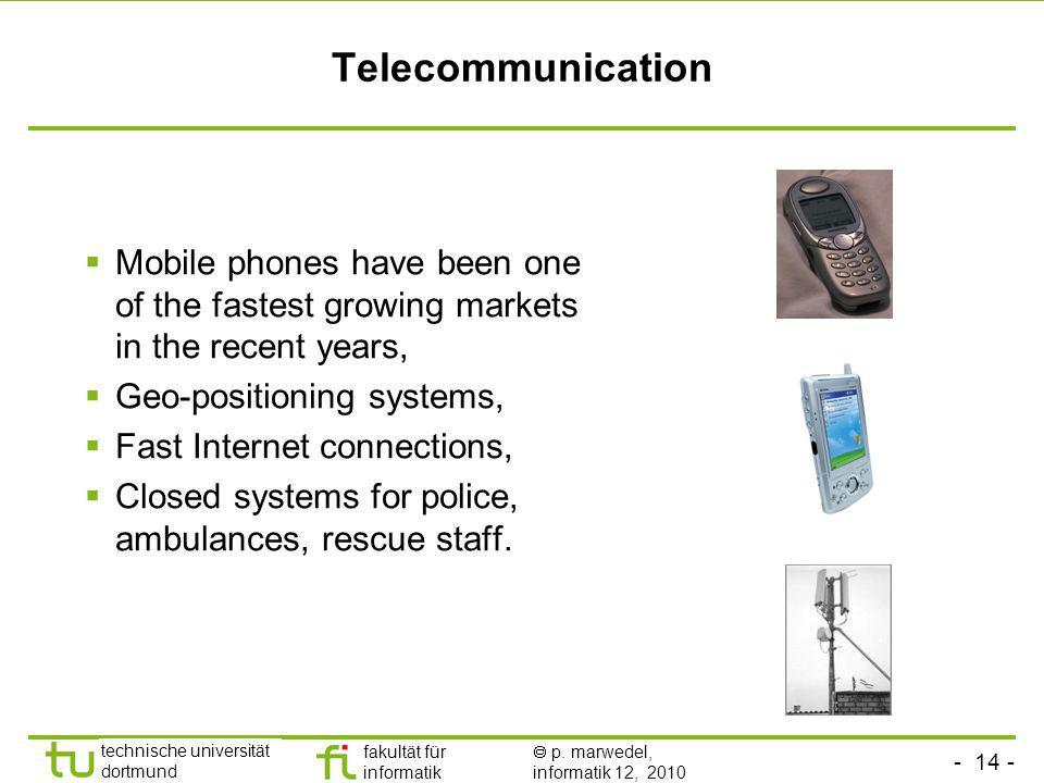 - 14 - technische universität dortmund fakultät für informatik p. marwedel, informatik 12, 2010 Telecommunication Mobile phones have been one of the f