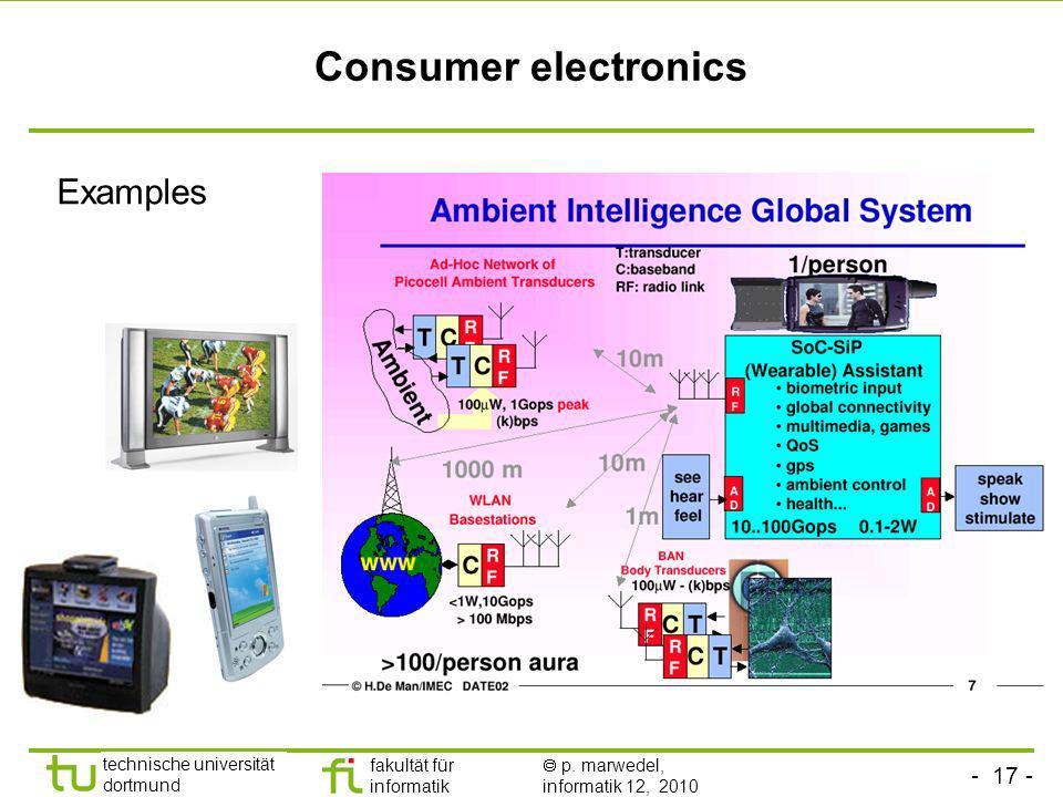- 17 - technische universität dortmund fakultät für informatik p. marwedel, informatik 12, 2010 Consumer electronics Examples