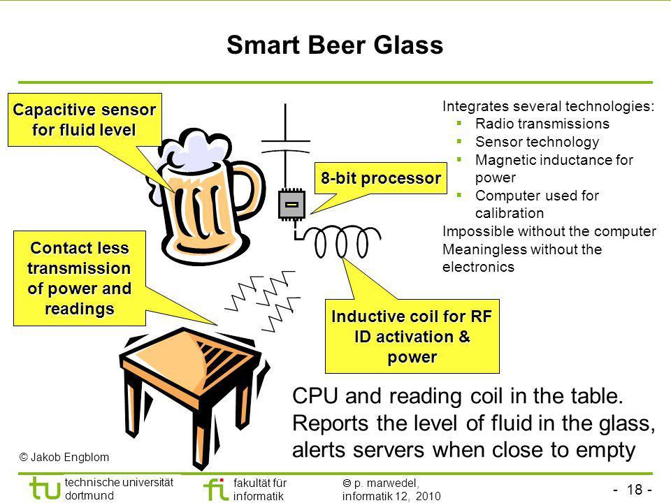 - 18 - technische universität dortmund fakultät für informatik p. marwedel, informatik 12, 2010 Smart Beer Glass 8-bit processor Capacitive sensor for