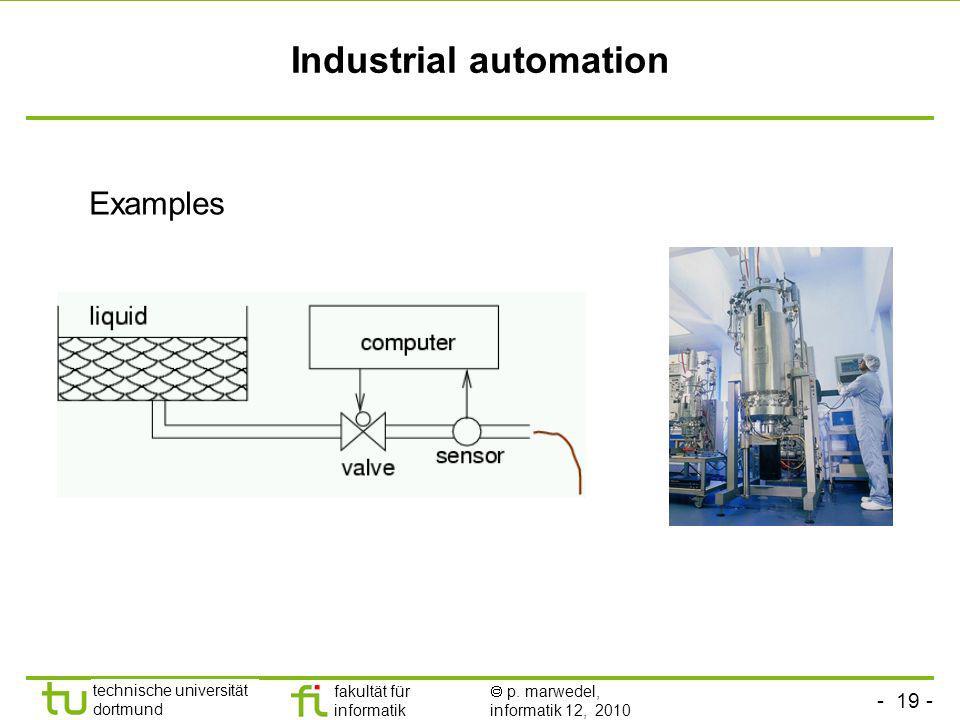 - 19 - technische universität dortmund fakultät für informatik p. marwedel, informatik 12, 2010 Industrial automation Examples