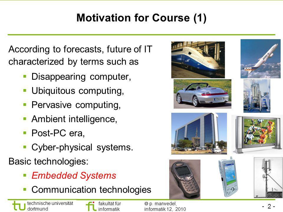 - 2 - technische universität dortmund fakultät für informatik p. marwedel, informatik 12, 2010 Motivation for Course (1) According to forecasts, futur