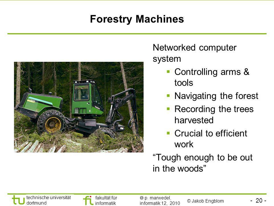 - 20 - technische universität dortmund fakultät für informatik p. marwedel, informatik 12, 2010 Forestry Machines © Jakob Engblom Networked computer s