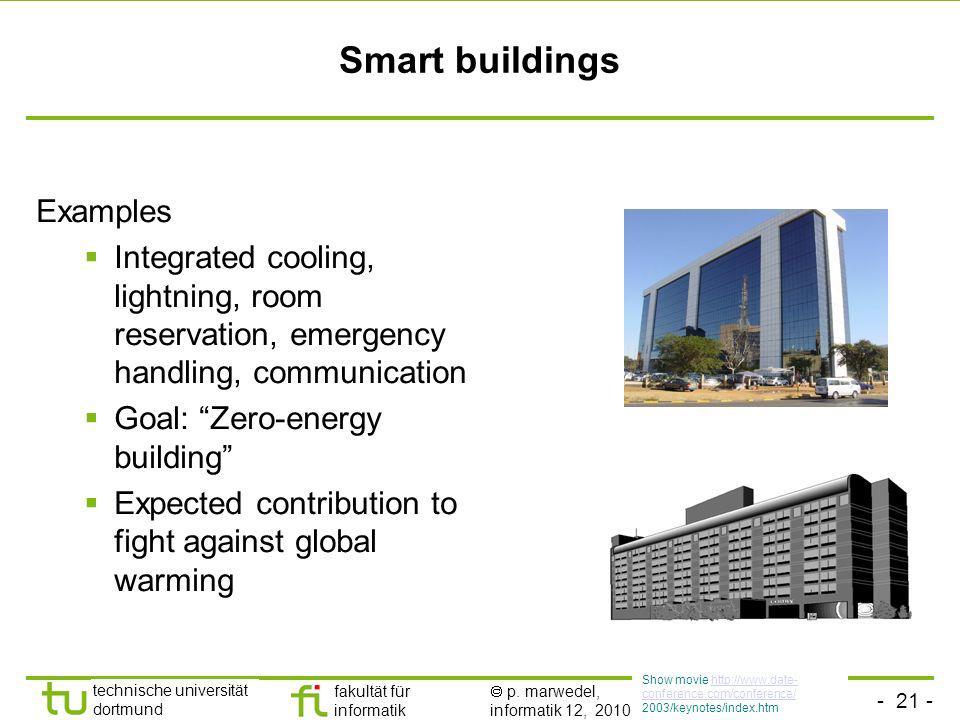- 21 - technische universität dortmund fakultät für informatik p. marwedel, informatik 12, 2010 Smart buildings Examples Integrated cooling, lightning