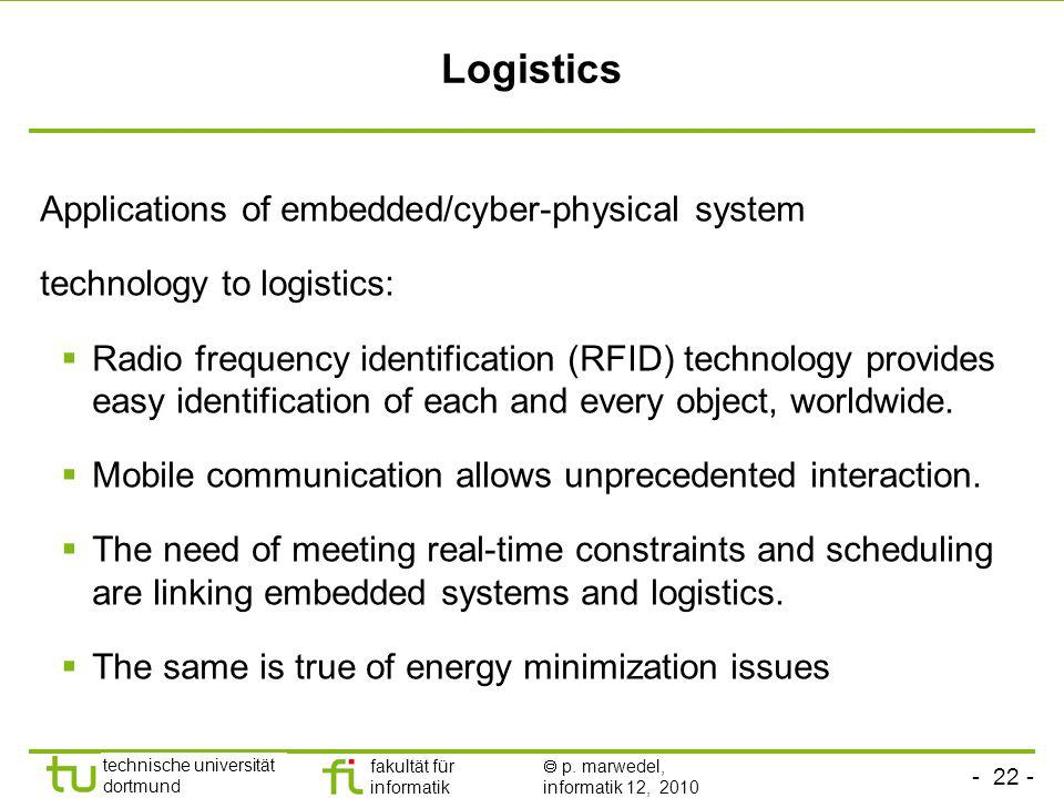 - 22 - technische universität dortmund fakultät für informatik p. marwedel, informatik 12, 2010 Logistics Applications of embedded/cyber-physical syst