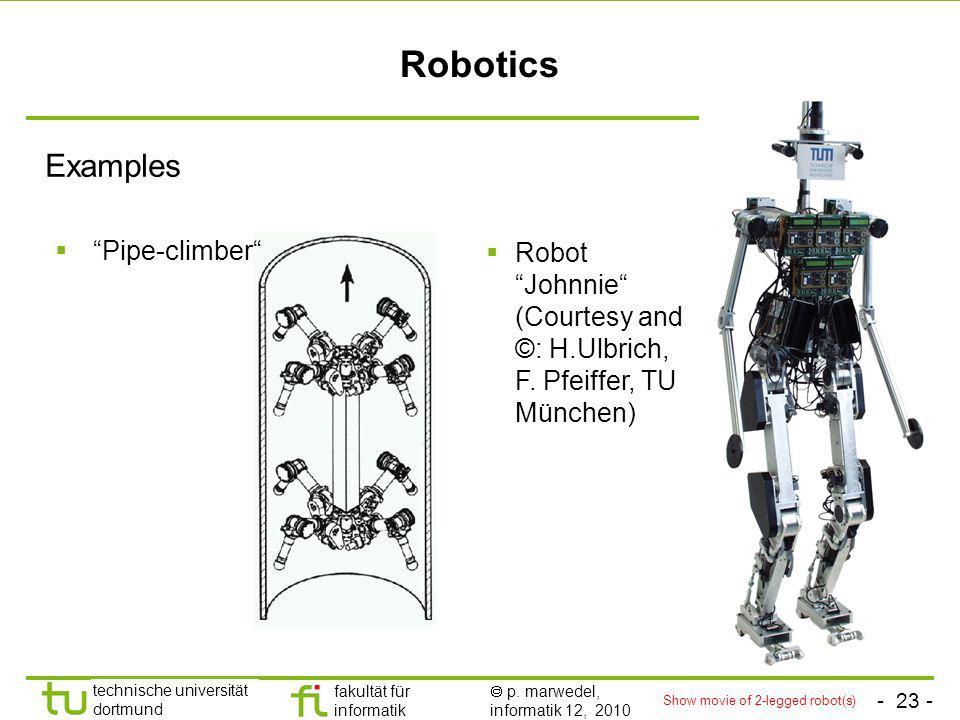 - 23 - technische universität dortmund fakultät für informatik p. marwedel, informatik 12, 2010 Robotics Examples Pipe-climber Robot Johnnie (Courtesy