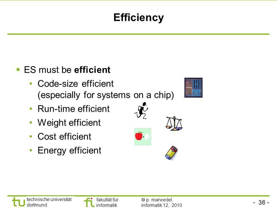 - 36 - technische universität dortmund fakultät für informatik p. marwedel, informatik 12, 2010 Efficiency ES must be efficient Code-size efficient (e