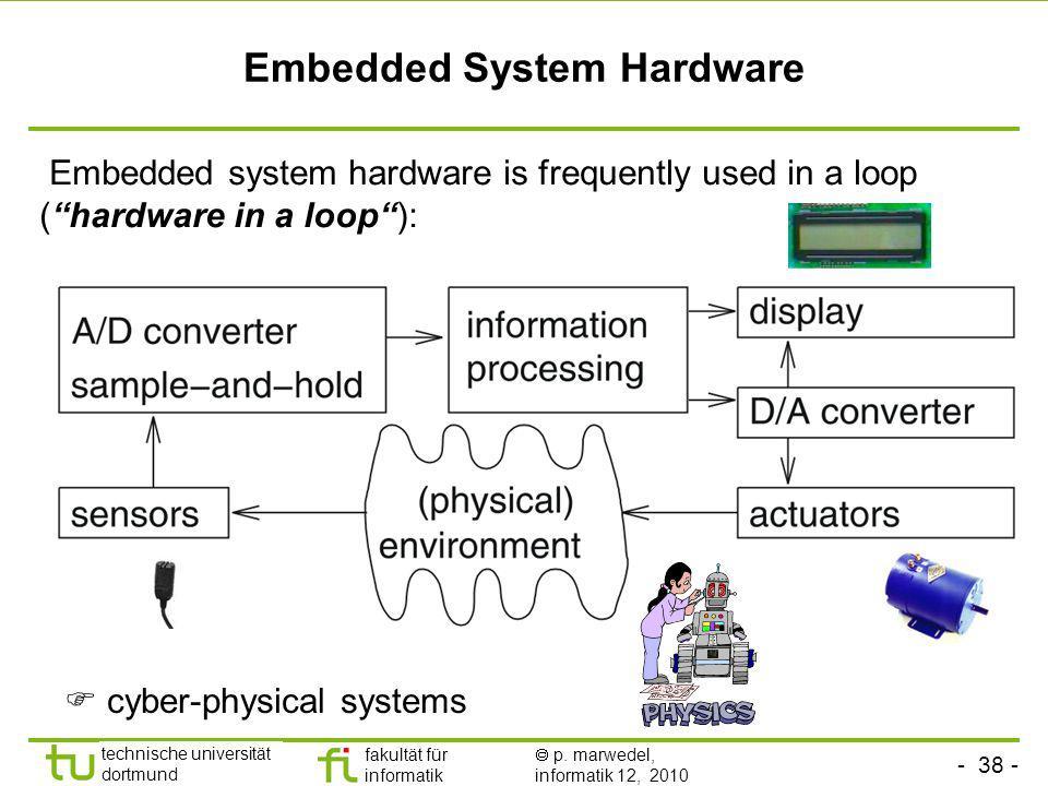- 38 - technische universität dortmund fakultät für informatik p. marwedel, informatik 12, 2010 Embedded System Hardware Embedded system hardware is f