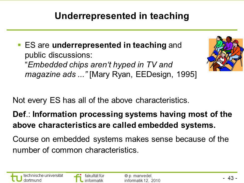 - 43 - technische universität dortmund fakultät für informatik p. marwedel, informatik 12, 2010 Underrepresented in teaching Not every ES has all of t