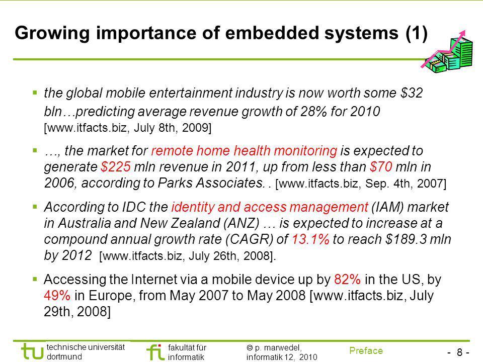 - 8 - technische universität dortmund fakultät für informatik p. marwedel, informatik 12, 2010 Growing importance of embedded systems (1) the global m