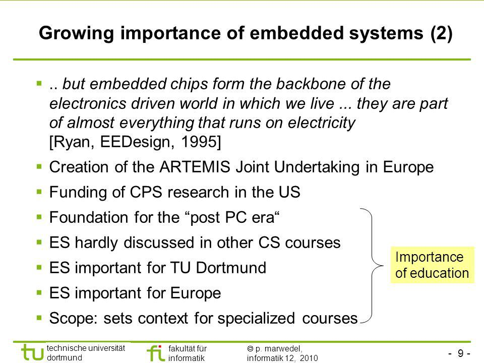- 9 - technische universität dortmund fakultät für informatik p. marwedel, informatik 12, 2010 Growing importance of embedded systems (2).. but embedd