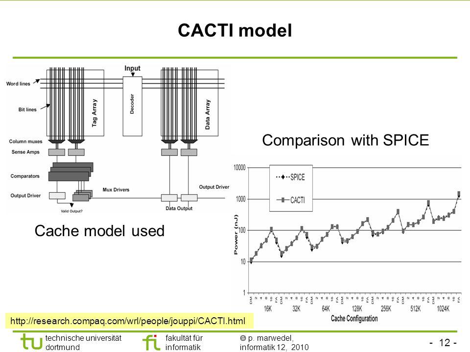 - 12 - technische universität dortmund fakultät für informatik p. marwedel, informatik 12, 2010 CACTI model Comparison with SPICE Cache model used htt