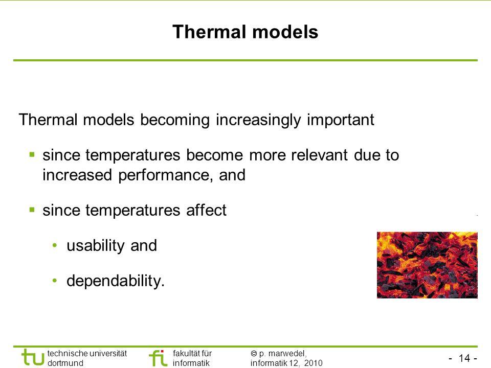 - 14 - technische universität dortmund fakultät für informatik p. marwedel, informatik 12, 2010 Thermal models Thermal models becoming increasingly im