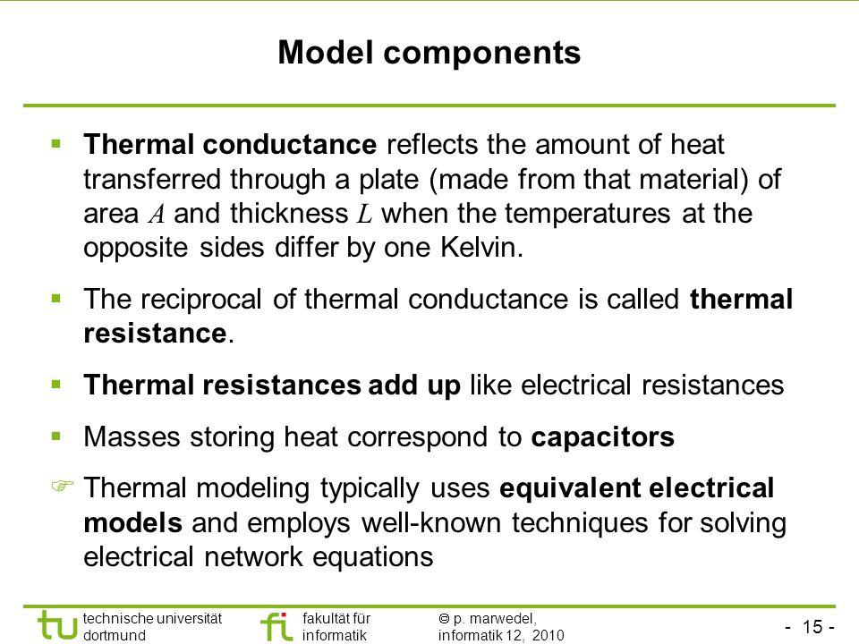 - 15 - technische universität dortmund fakultät für informatik p. marwedel, informatik 12, 2010 Model components Thermal conductance reflects the amou