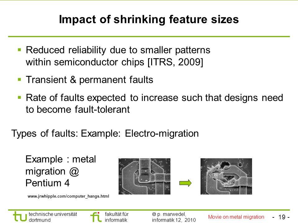 - 19 - technische universität dortmund fakultät für informatik p. marwedel, informatik 12, 2010 Impact of shrinking feature sizes Reduced reliability