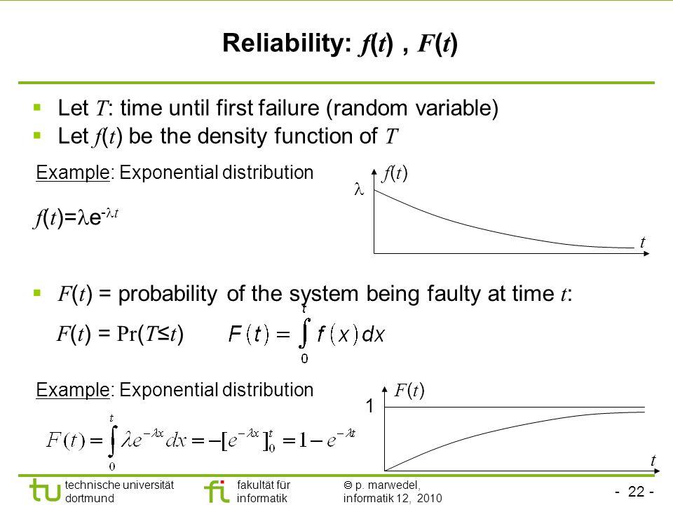- 22 - technische universität dortmund fakultät für informatik p. marwedel, informatik 12, 2010 Let T : time until first failure (random variable) Let