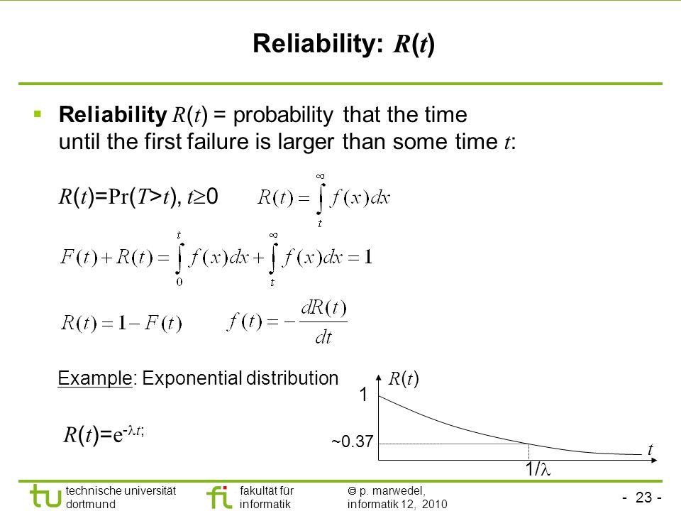 - 23 - technische universität dortmund fakultät für informatik p. marwedel, informatik 12, 2010 Reliability R ( t ) = probability that the time until