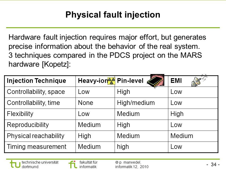 - 34 - technische universität dortmund fakultät für informatik p. marwedel, informatik 12, 2010 Physical fault injection Hardware fault injection requ