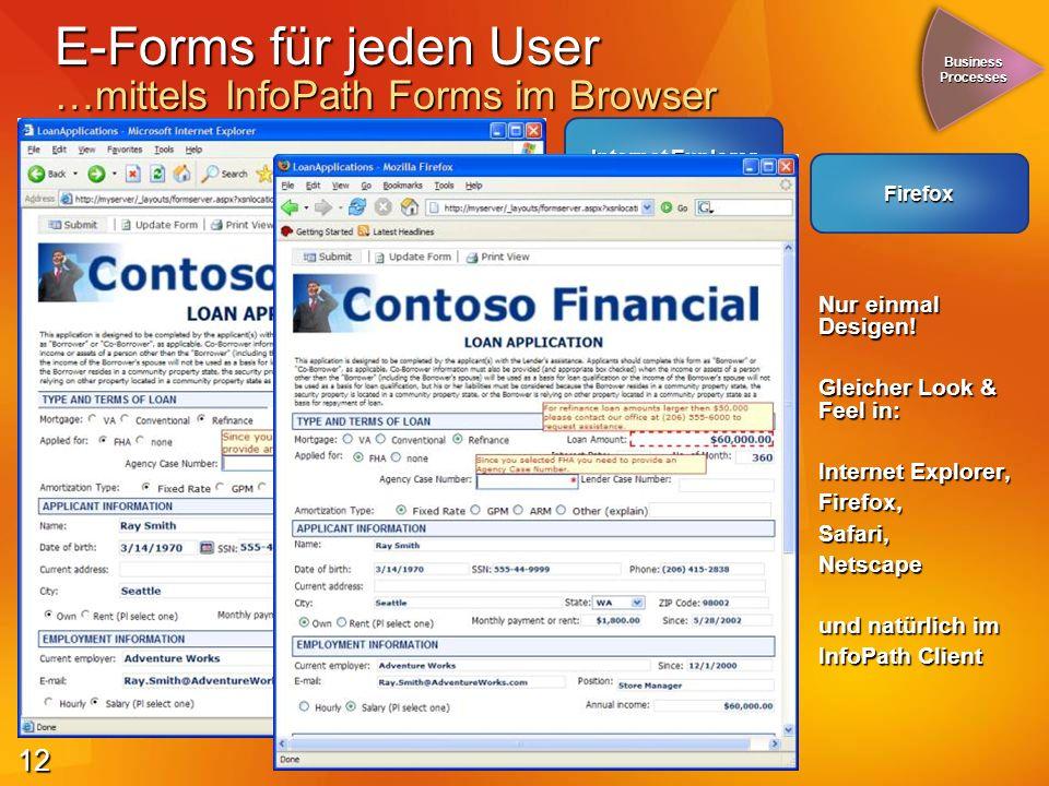 12 Internet Explorer E-Forms für jeden User …mittels InfoPath Forms im Browser Nur einmal Desigen.