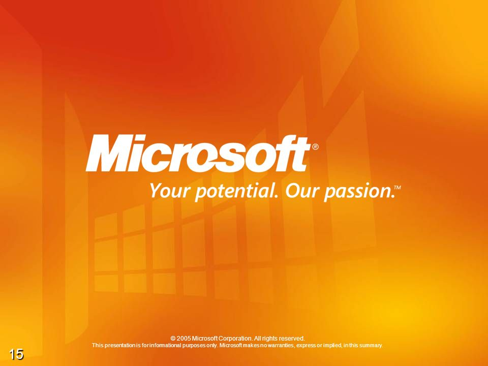 15 © 2005 Microsoft Corporation. All rights reserved. This presentation is for informational purposes only. Microsoft makes no warranties, express or