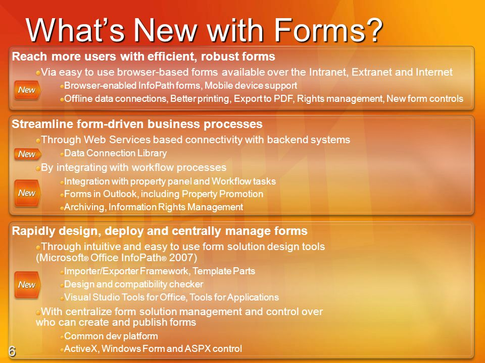 7 Forms Services Licensing Additive CAL Base CAL Single Sign-On Workflow templates Document & Web Content Management Data Integration Data Mgmt & Reporting Full search of forms Spreadsheet publishing & reporting Server license Forms Intranet CAL Internet Connectors