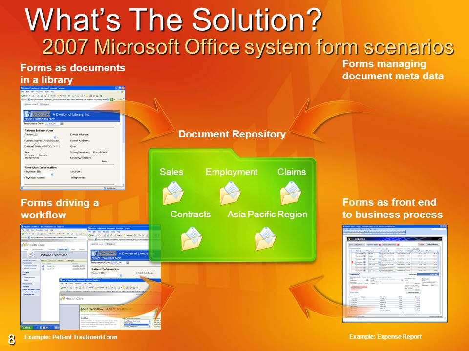9 Typical Scenarios E-mail forms Collaboration forms Siebel, SQL 2005, Web Services Enterprise forms SharePoint Outlook Ad-hoc forms Semi structured forms Highly structured forms connected via Web Services to LOBs and database systems Enterprise forms