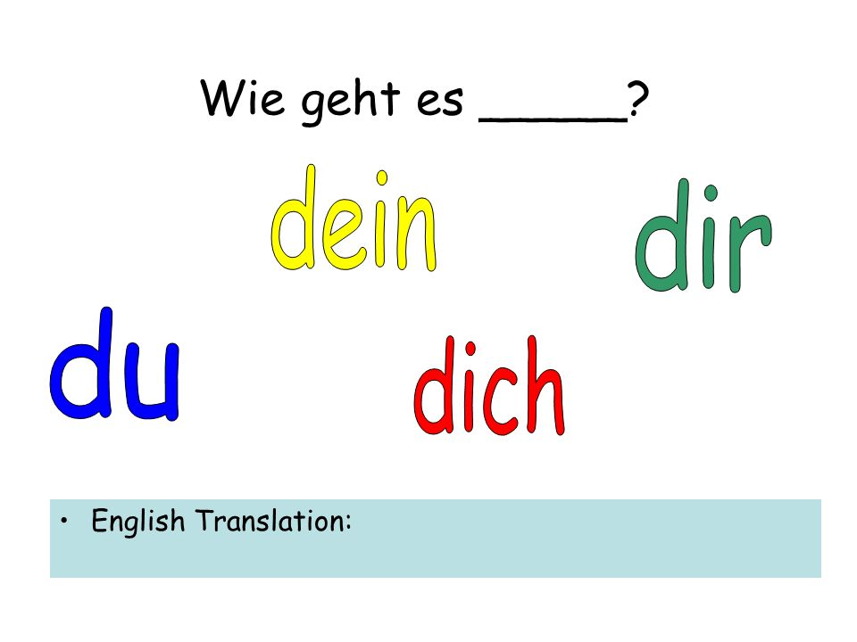 Wie geht es _____ English Translation: