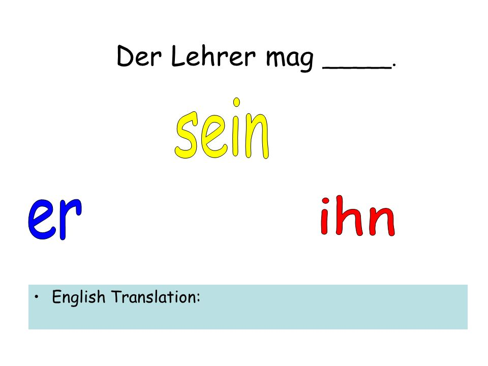 Der Lehrer mag _____. English Translation: