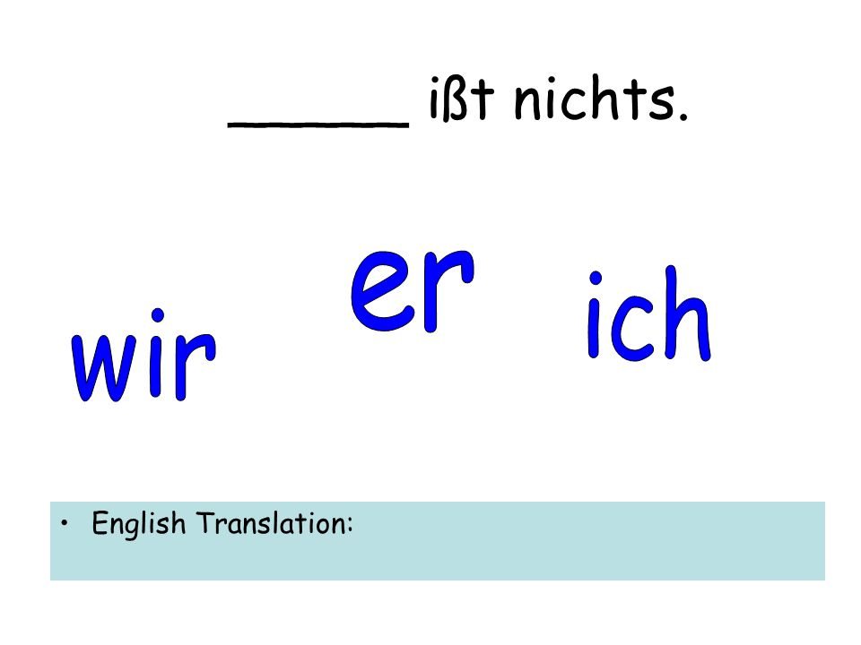 _____ ißt nichts. English Translation: