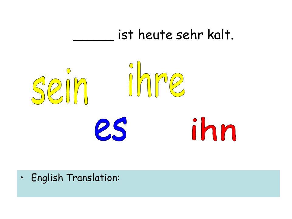 _____ ist heute sehr kalt. English Translation: