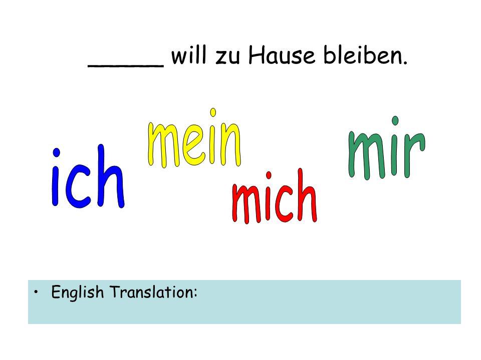 _____ will zu Hause bleiben. English Translation: