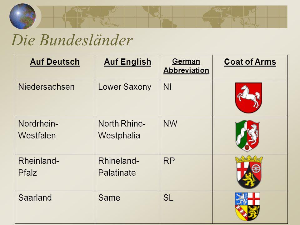 Die Bundesländer Auf DeutschAuf English German Abbreviation Coat of Arms NiedersachsenLower SaxonyNI Nordrhein- Westfalen North Rhine- Westphalia NW R