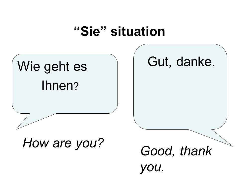Sie situation Wie geht es Ihnen ? Gut, danke. How are you? Good, thank you.