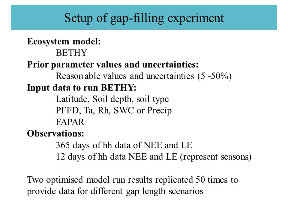 Setup of gap-filling experiment Ecosystem model: BETHY Prior parameter values and uncertainties: Reasonable values and uncertainties (5 -50%) Input data to run BETHY: Latitude, Soil depth, soil type PFFD, Ta, Rh, SWC or Precip FAPAR Observations: 365 days of hh data of NEE and LE 12 days of hh data NEE and LE (represent seasons) Two optimised model run results replicated 50 times to provide data for different gap length scenarios