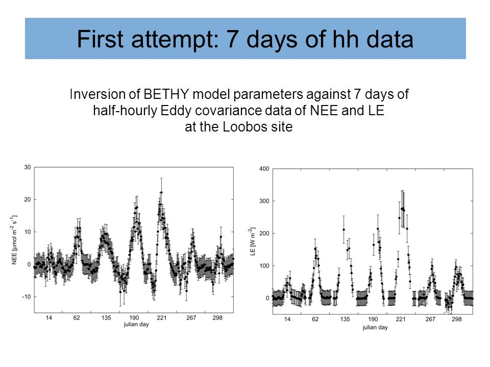 First attempt: 7 days of hh data Inversion of BETHY model parameters against 7 days of half-hourly Eddy covariance data of NEE and LE at the Loobos si