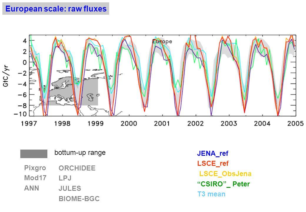 Annual land fluxes : LSCELSCE (Jena obs) JENACSIRO Europe-0.41 -0.15 -0.36 -0.01 -0.96 -0.87 -0.18 -0.22 N.