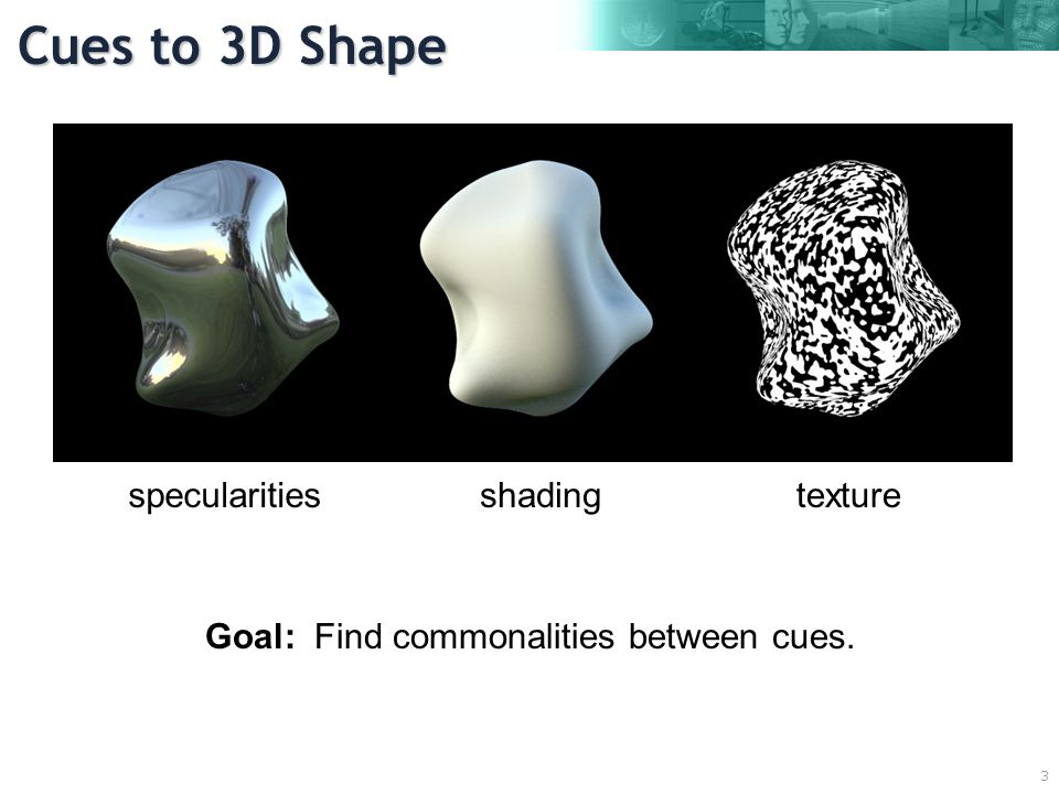 3 specularitiesshadingtexture Goal: Find commonalities between cues. Cues to 3D Shape