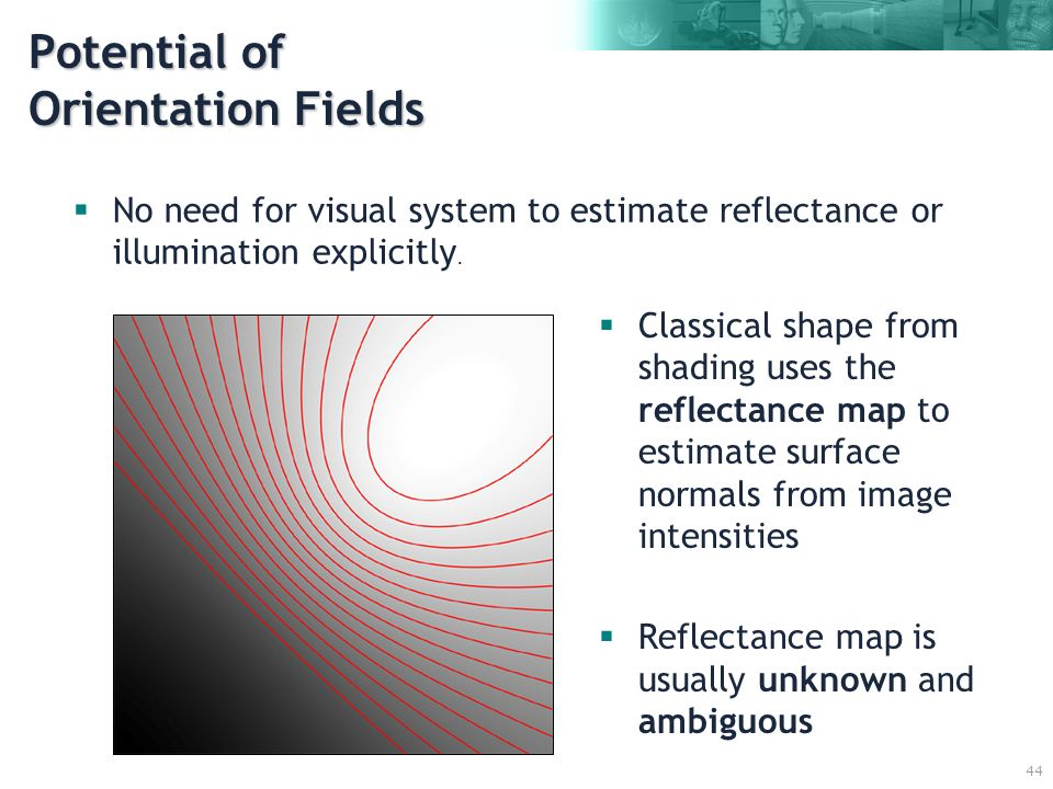 44 No need for visual system to estimate reflectance or illumination explicitly. Classical shape from shading uses the reflectance map to estimate sur