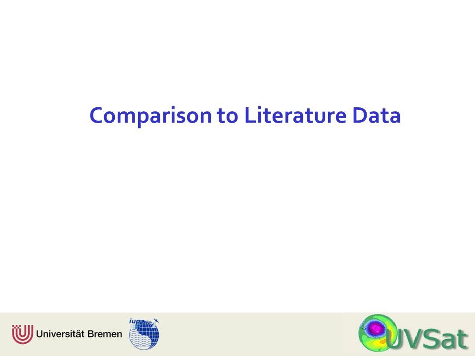 Physik Fachbereich 1 Institut für Umweltphysik Comparison to Literature Data